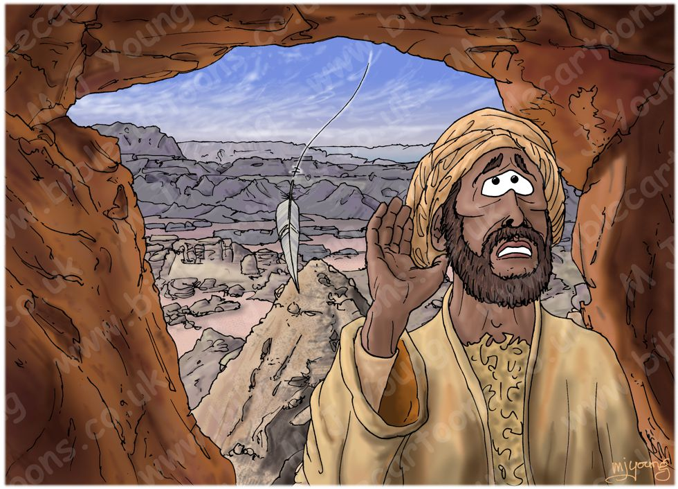 1 Kings 19 - The Lord appears to Elijah at Horeb - Scene 04 - Gentle whisper 980x706px col.jpg