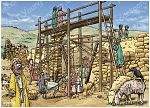 Nehemiah 03 - Rebuilding Jerusalem's walls - Scene 01 - Eliashib rebuilds the Sheep gate 980x706px col.jpg