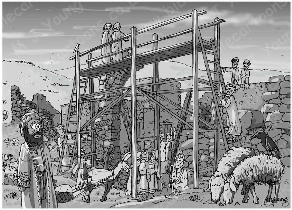 Nehemiah 03 - Rebuilding Jerusalem's walls - Scene 01 - Eliashib rebuilds the Sheep gate 980x706px greyscale.jpg