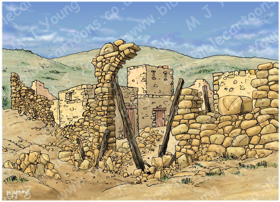 Nehemiah 03 - Rebuilding Jerusalem's walls - Scene 01 - Eliashib rebuilds the Sheep gate - Landscape 980x706px col.jpg