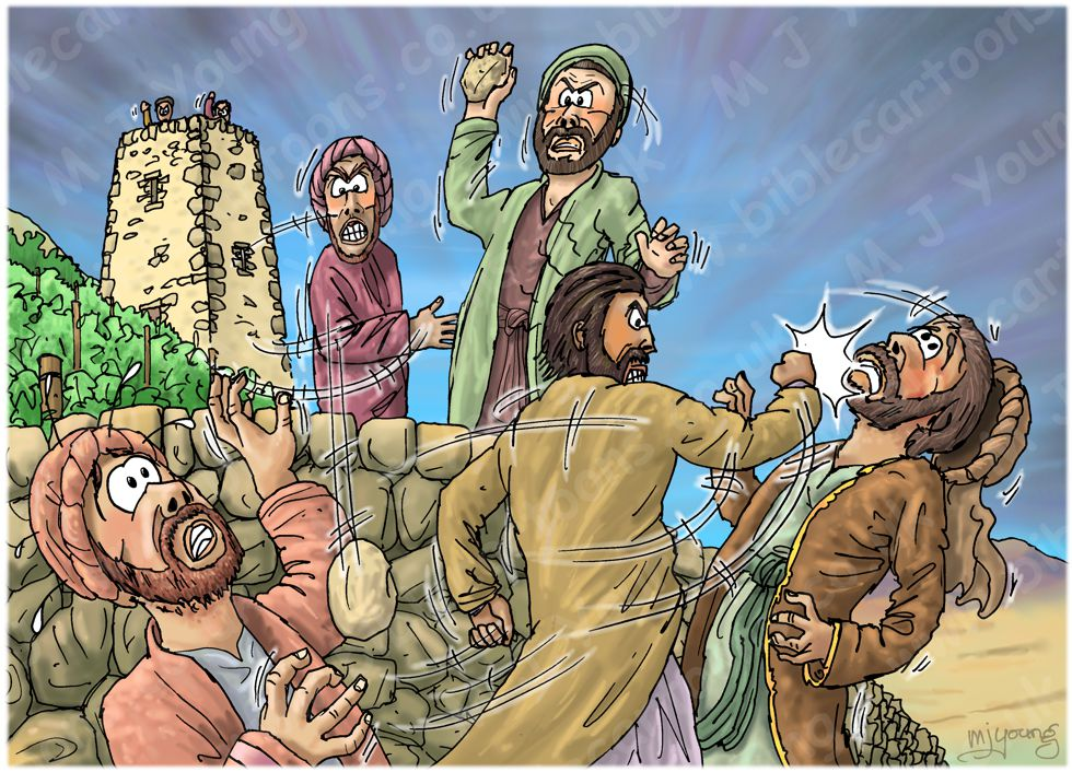Matthew 21 - Parable of the Wicked Tenants - Scene 02 - Servants beaten 980x706px col.jpg