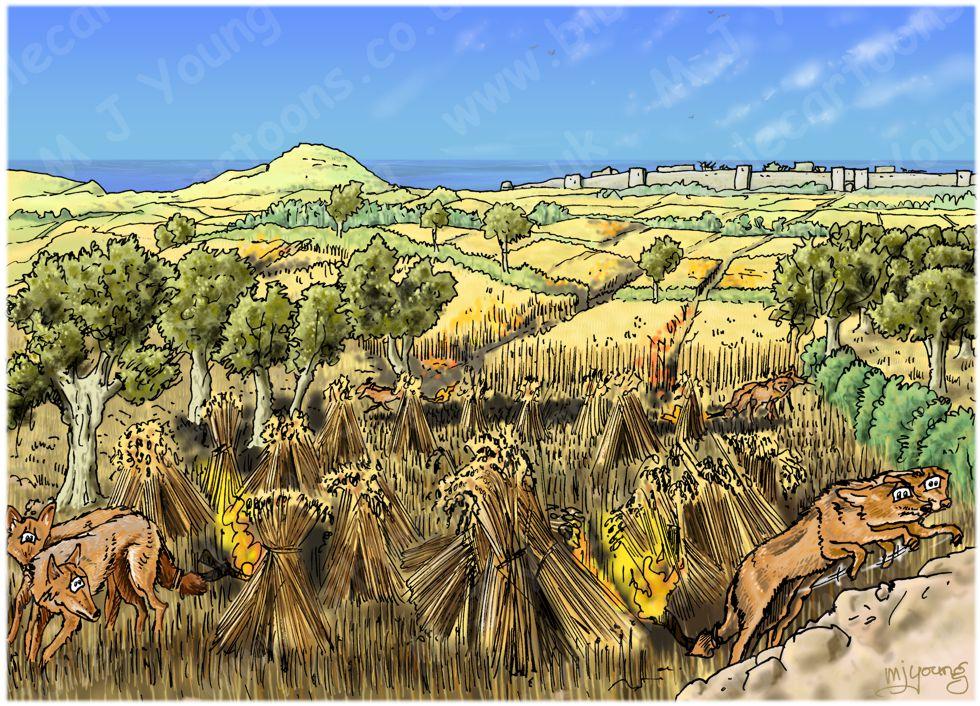 Judges 15 - Samson's revenge - Scene 02 - Fire foxes - Landscape (No smoke) 980x706px col.jpg