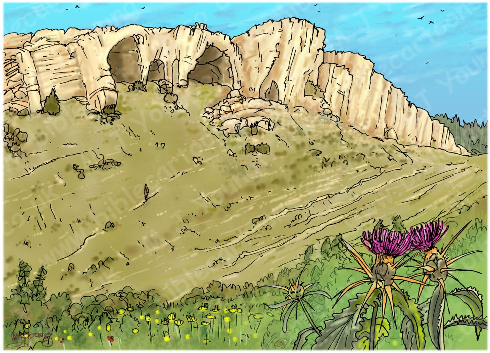 Judges 15 - Samson's revenge - Scene 04 - Walking to Etam cave 980x706px col.jpg