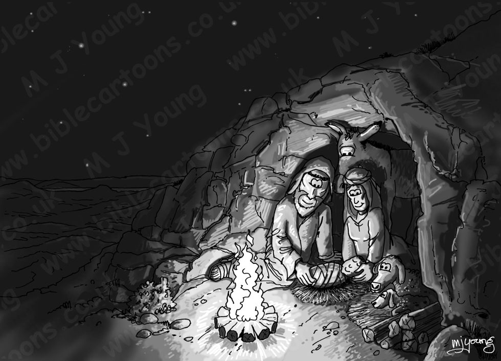 Luke 02 - Nativity SET01 - Scene 02 - Stable (Cave version) 980x706px greyscale.jpg