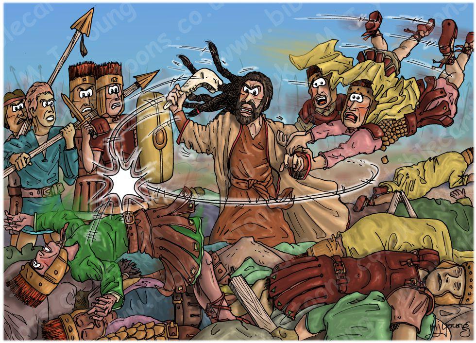 Judges 15 - Samson's revenge - Scene 07 - Donkeys jaw-bone 980x706px col.jpg