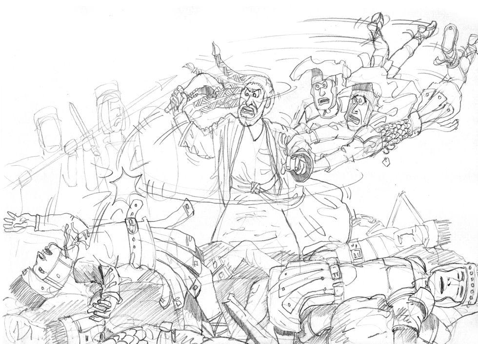 Judges 15 - Samson's revenge - Scene 07 - Donkeys jaw-bone 980x706px greyscale.jpg