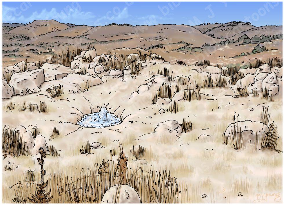 Judges 15 - Samson's revenge - Scene 08 - En Hakkore spring - Landscape 980x706px col.jpg