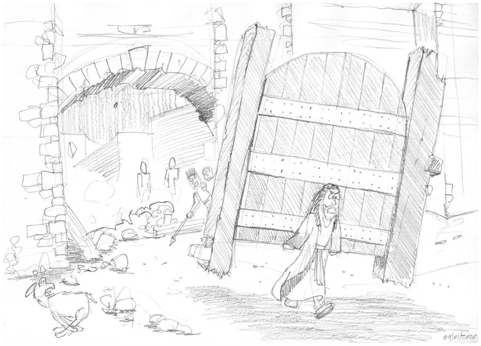 Judges 16 - Samson and Delilah - Scene 02 - City gate torn loose 980x706px greyscale.jpg
