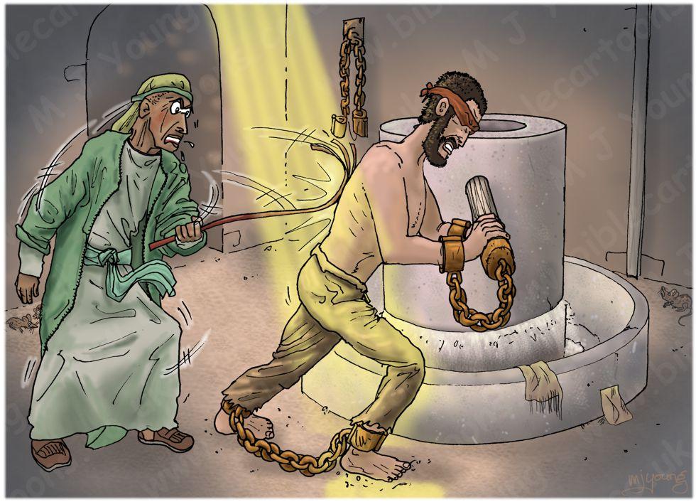 Judges 16 - Samson and Delilah - Scene 10 - Samson grinding grain in Gaza prison 980x706px col.jpg