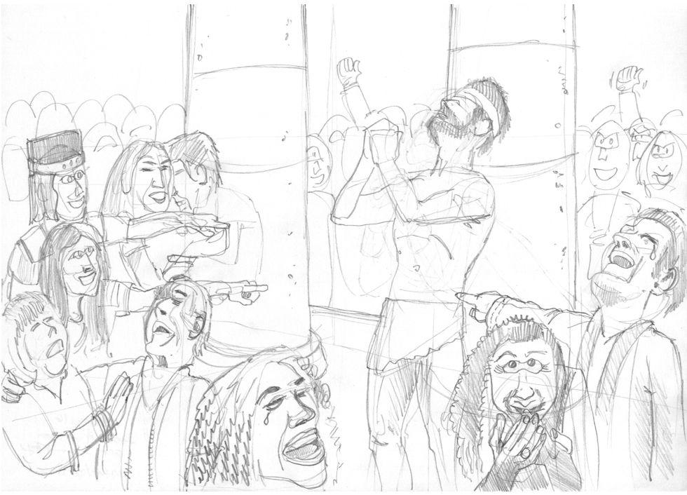 Judges 16 - Death of Samson - Scene 01 - Samson prays 980x706px greyscale.jpg