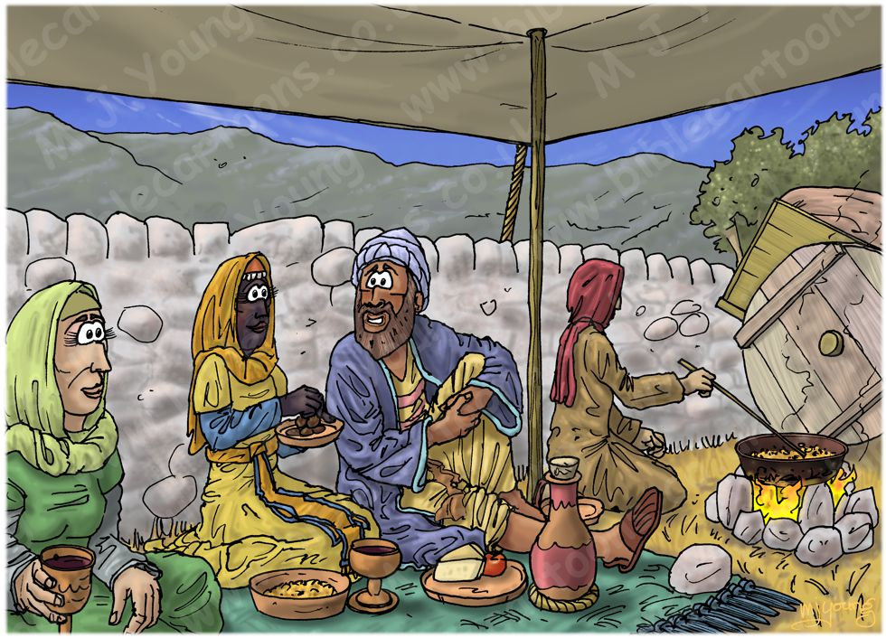 Ruth 02 - Harvesting - Scene 04 - Ruth's meal break with Boaz 980x706px col.jpg