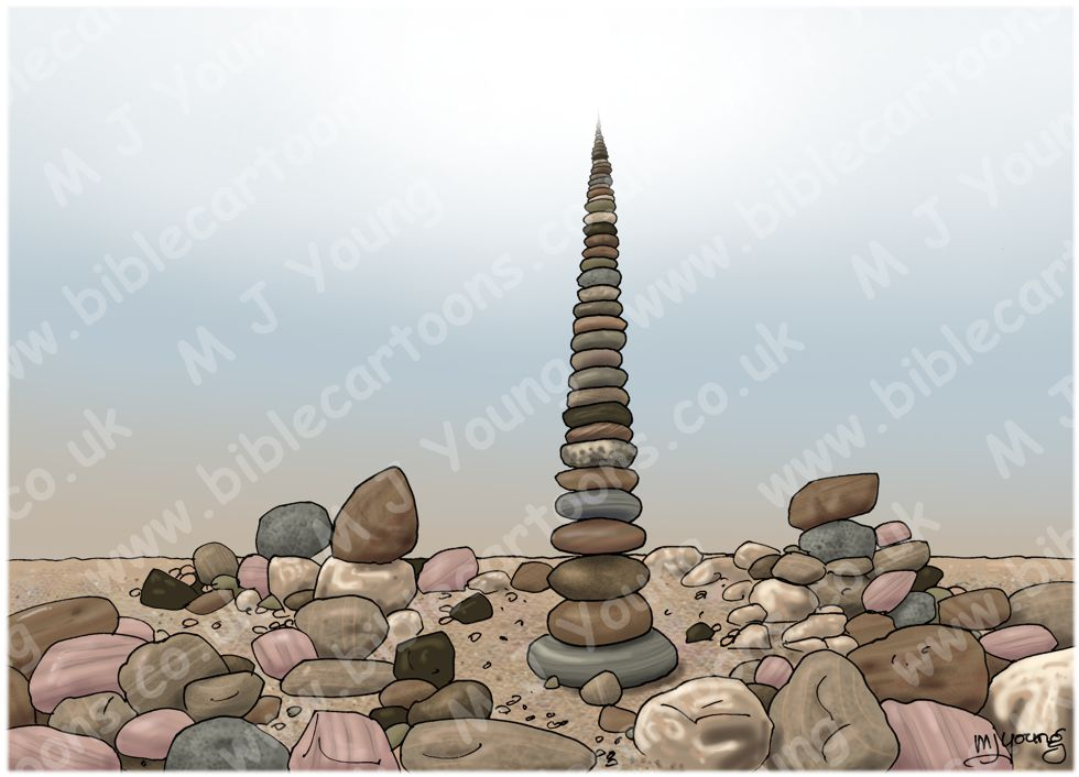 """Impossible"" pebble stack - beach view metaphor 980x706px col"