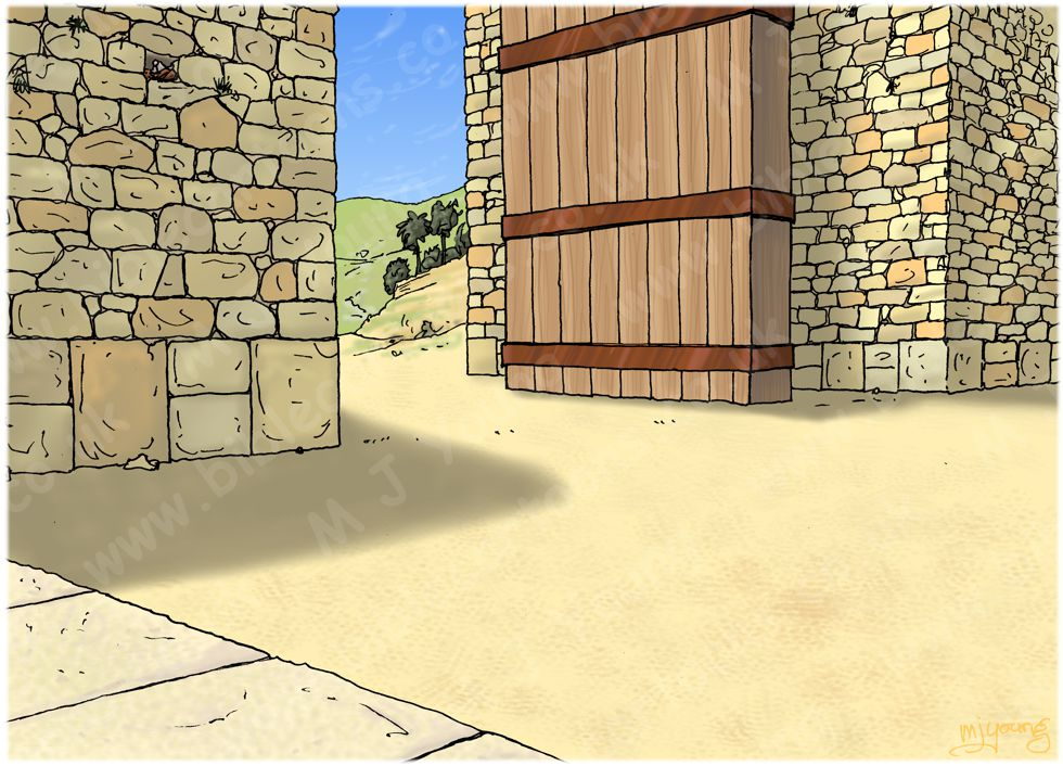 Ruth 04 - Ruth marries Boaz - Scene 01 - Family Redeemer - Townscape 980x706px col.jpg