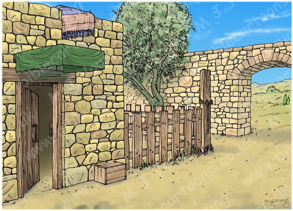 1 Kings 13 - Prophet and lion - Scene 04 - Old prophet sets out - Landscape 980x706px col.jpg