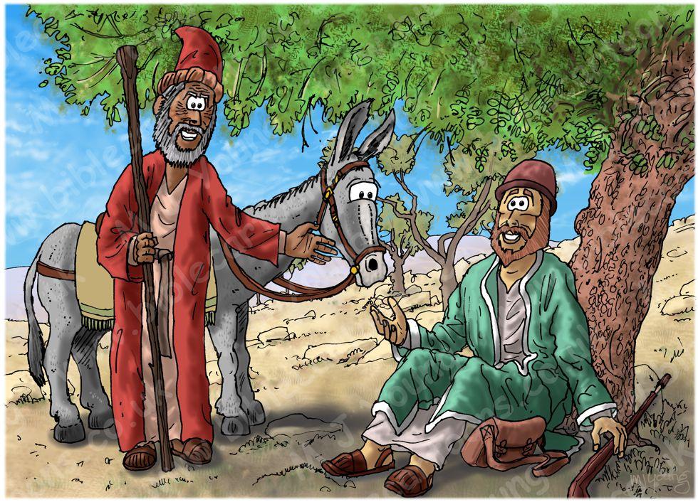 1 Kings 13 - Prophet and lion - Scene 05 - Old prophet's deceit 980x706px col.jpg