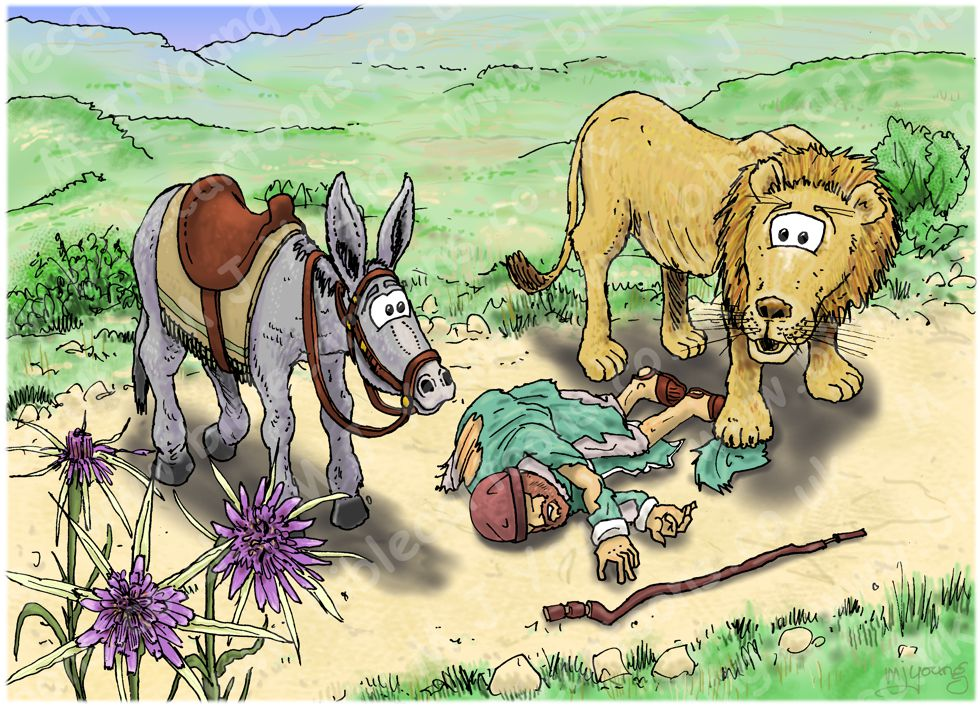 1 Kings 13 - Prophet and lion - Scene 07 - Man of God killed by lion 980x706px col.jpg
