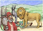 1 Kings 13 - Prophet and lion - Scene 09 - The lion and the donkey 980x706px col.jpg