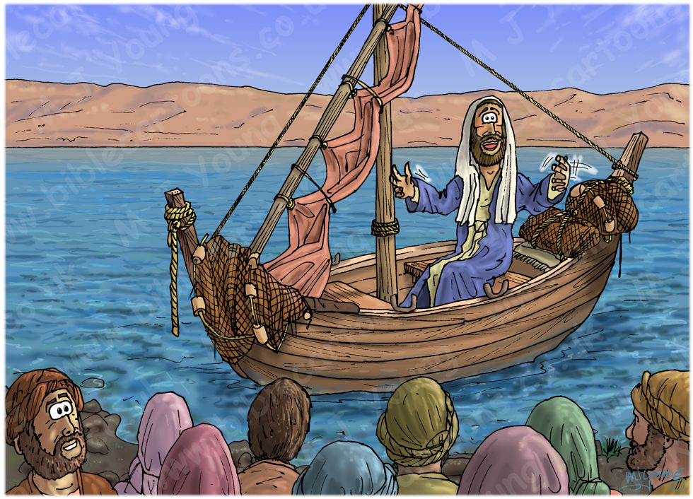 Matthew 13 - Parable of the sower - Scene 01 - Teaching from a boat 980x706px col.jpg