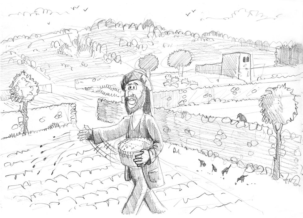 Matthew 13 - Parable of the sower - Scene 02 - Birds eat seed 980x706px greyscale.jpg