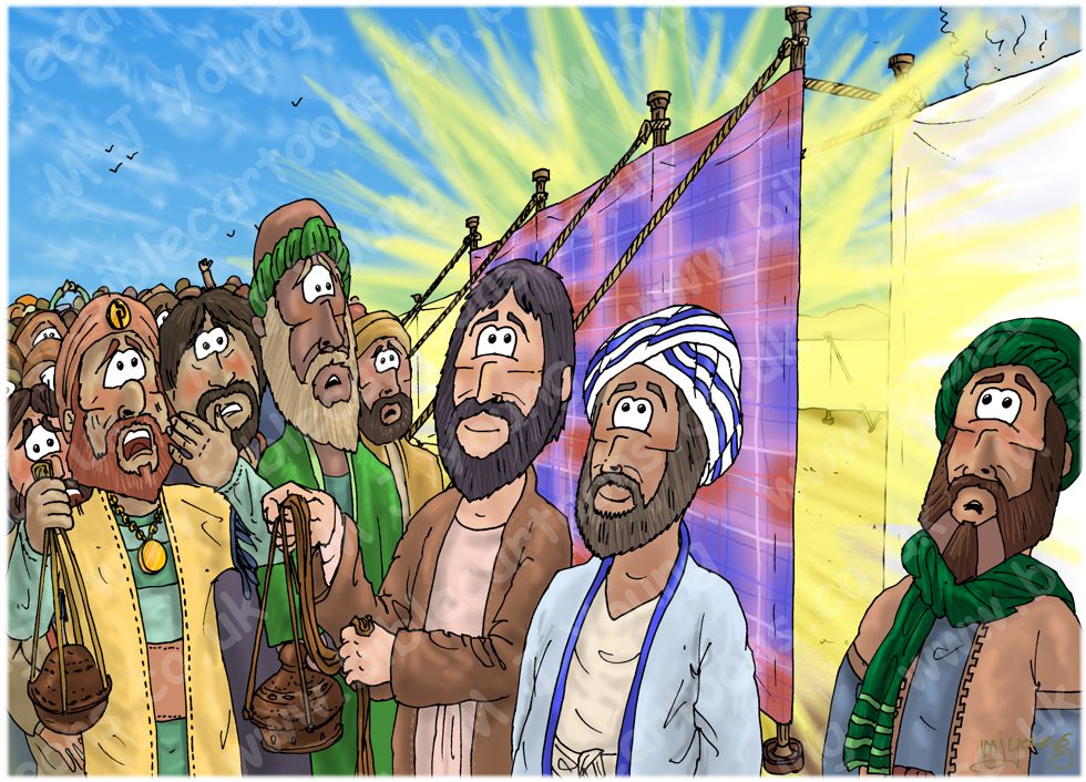 Numbers 16 - Korah's rebellion - Scene 05 - Gathered at the Tent of Meeting 980x706px col.jpg