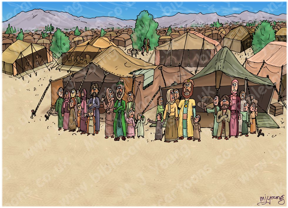 Numbers 16 - Korah's rebellion - Scene 06 - Move back from the tents - Tent FIGs 980x706px col.jpg