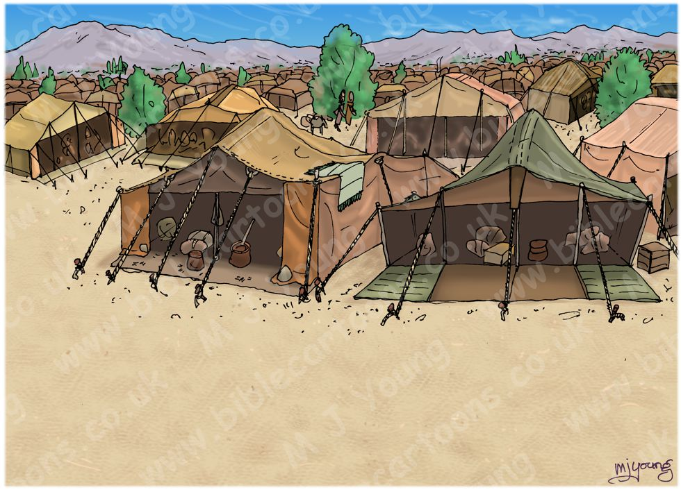 Numbers 16 - Korah's rebellion - Scene 06 - Move back from the tents - Landscape 980x706px col.jpg