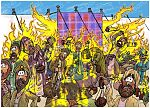 Numbers 16 - Korah's rebellion - Scene 08 - God's fire consumes 250 men 980x706px col.jpg