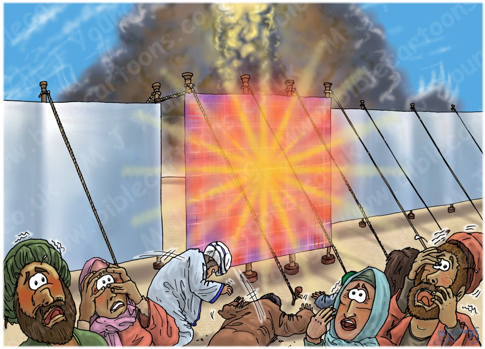 Numbers 16 - Korah's rebellion - Scene 11 - Glory of the Lord appears 980x706px col.jpg