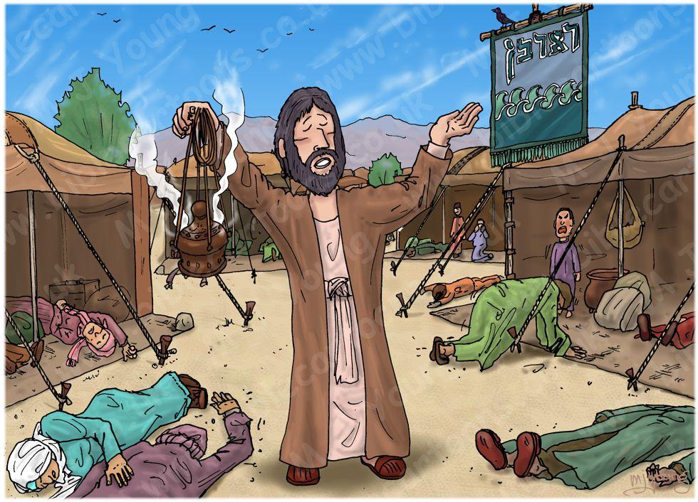 Numbers 16 - Korah's rebellion - Scene 12 - Aaron atones for the Israelites 980x706px col.jpg