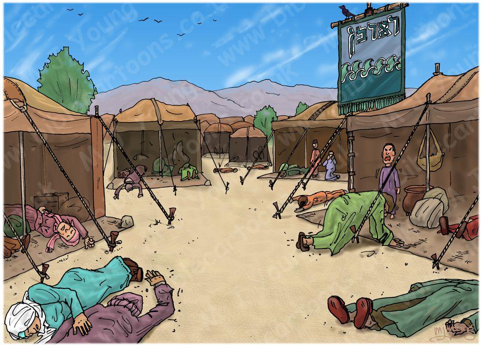 Numbers 16 - Korah's rebellion - Scene 12 - Aaron atones for the Israelites - Landscape 980x706px col.jpg