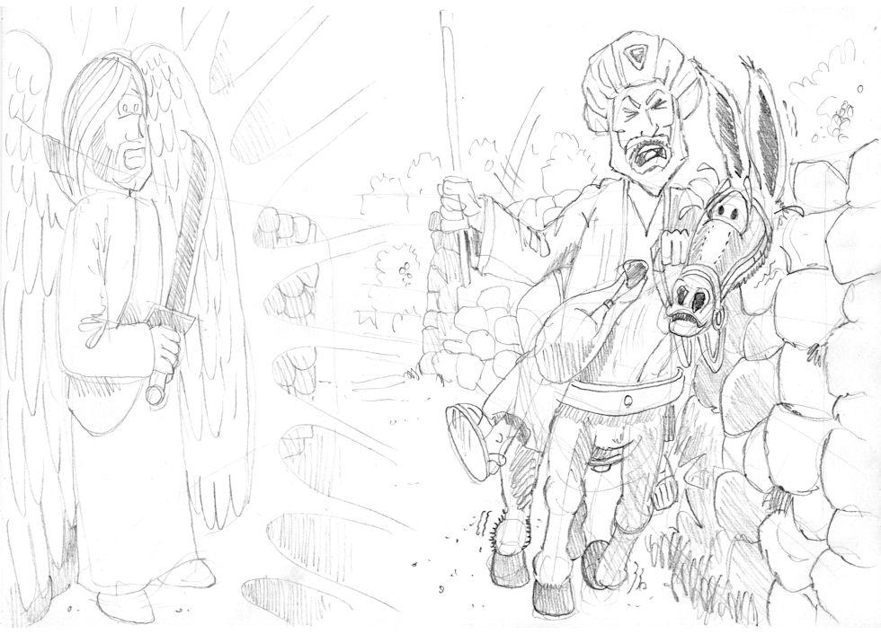 Numbers 22 - Balaam's Donkey - Scene 03 - Crushed foot 980x706 greyscale.jpg