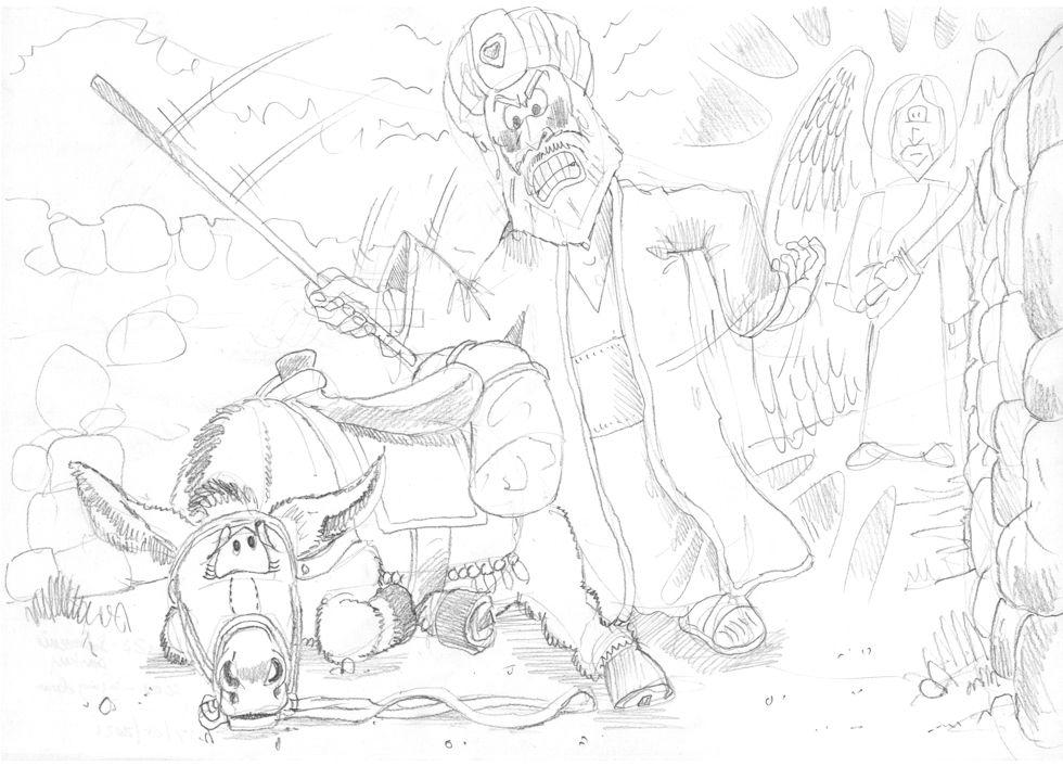 Numbers 22 - Balaam's Donkey - Scene 04 - Lying down 980x706px greyscale.jpg