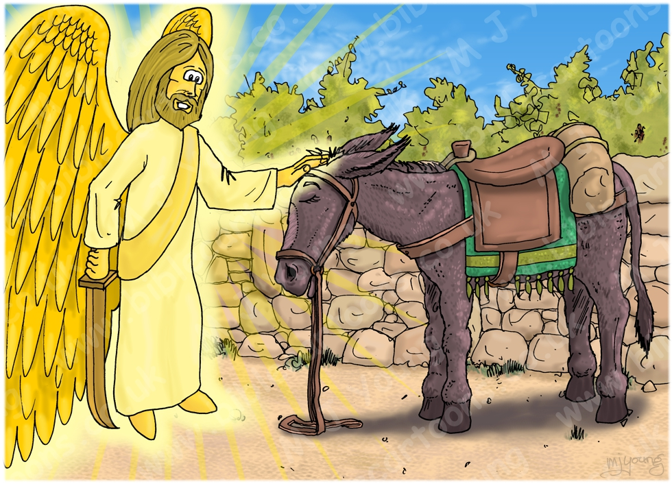 Numbers 22 - Balaam's Donkey - Scene 06 - Angel conversation (Angel & Donkey) 980x706px col.jpg