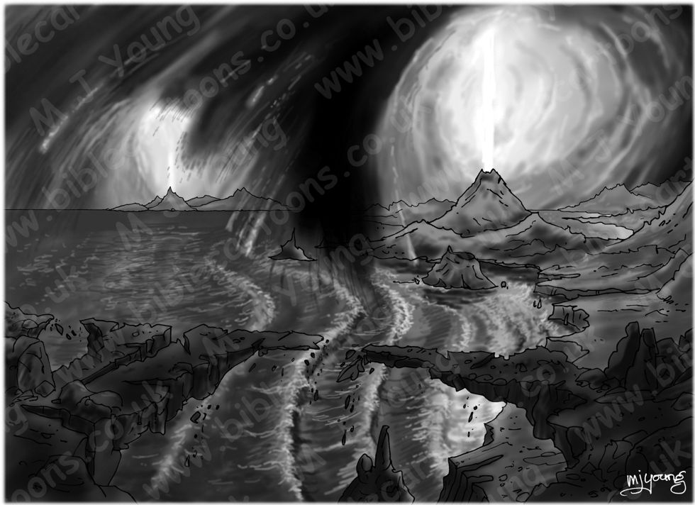 Genesis 01 - The First 7 Days - Scene 04 - Land 980x706px greyscale