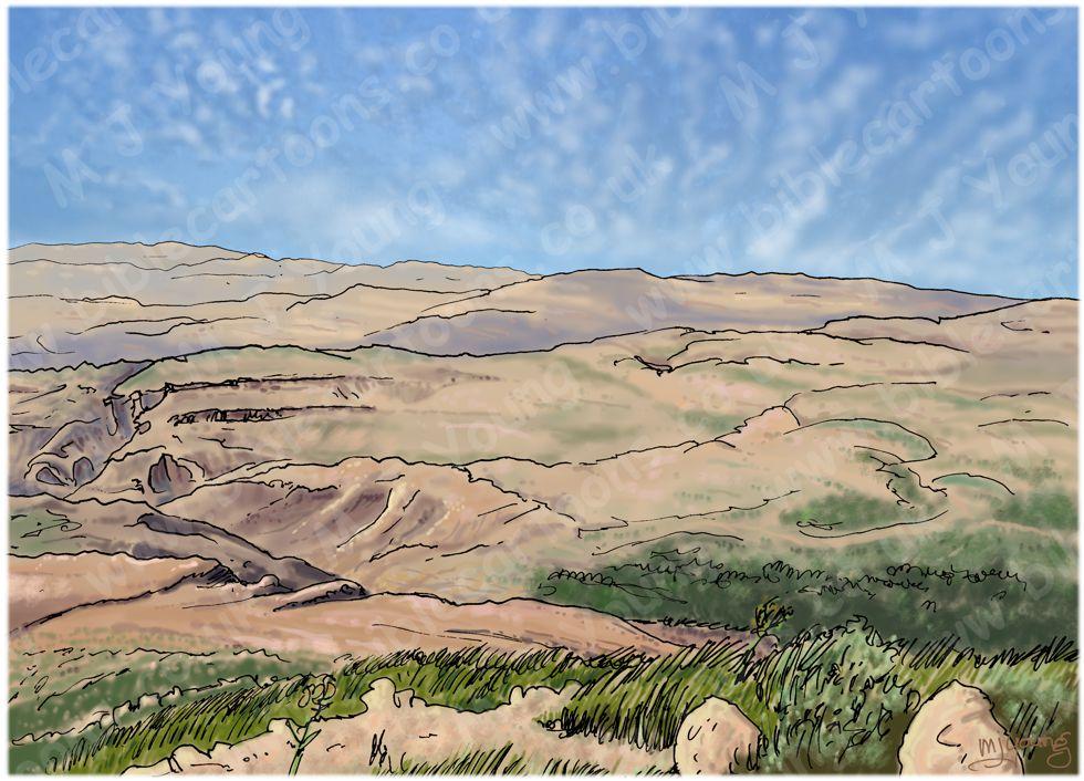Deuteronomy 34 - Death of Moses - Scene 02 - Valley grave - Landscape 980x706px col.jpg