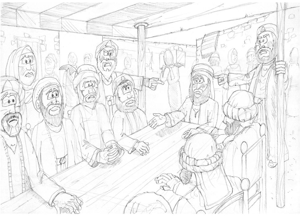 1 Kings 21 - Naboth's Vineyard - Scene 04 - Jezebel's trap sprung 980x706px greyscale.jpg