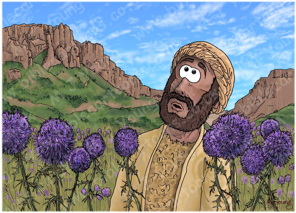 1 Kings 21 - Naboth's Vineyard - Scene 06 - Elijah hears God's word 980x706px col.jpg