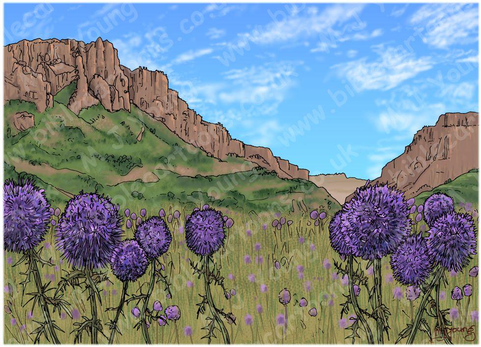 1 Kings 21 - Naboth's Vineyard - Scene 06 - Elijah hears God's word - Landscape 980x706px col.jpg