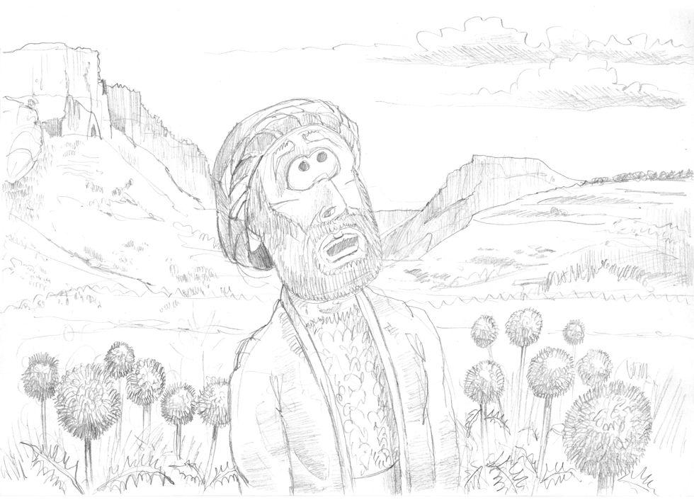1 Kings 21 - Naboth's Vineyard - Scene 06 - Elijah hears God's word 980x706px greyscale.jpg