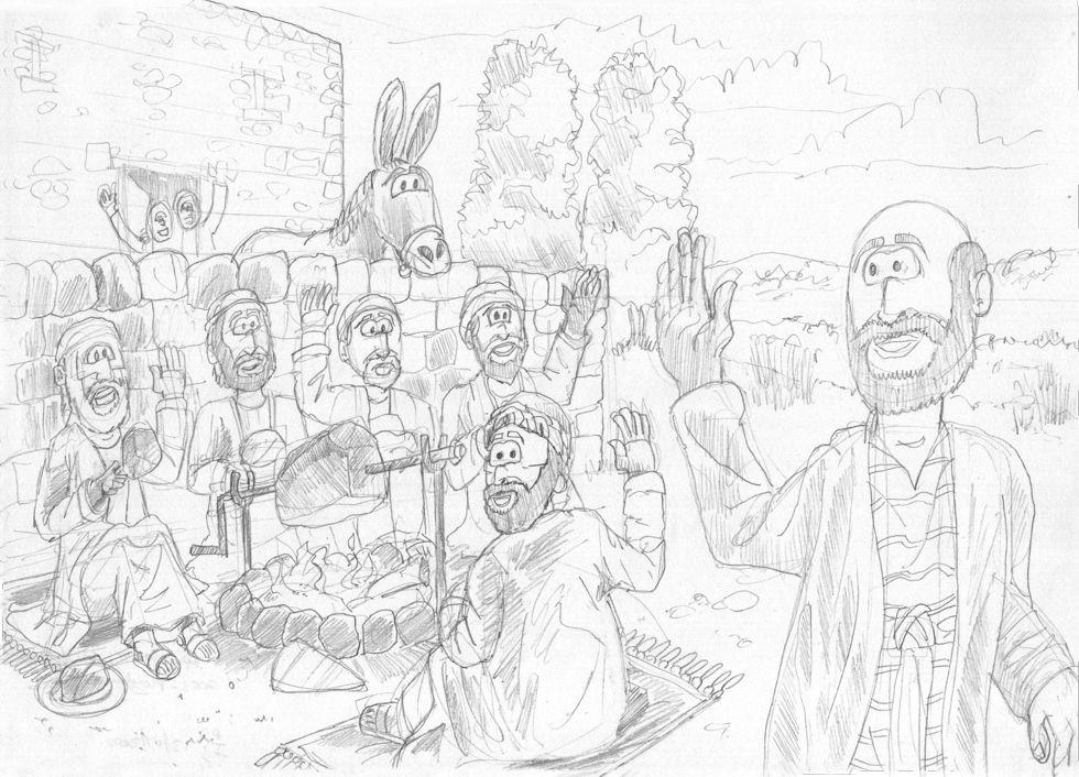 1 Kings 19 - The call of Elisha - Scene 03 - Ploughman's lunch 980x706px greyscale.jpg