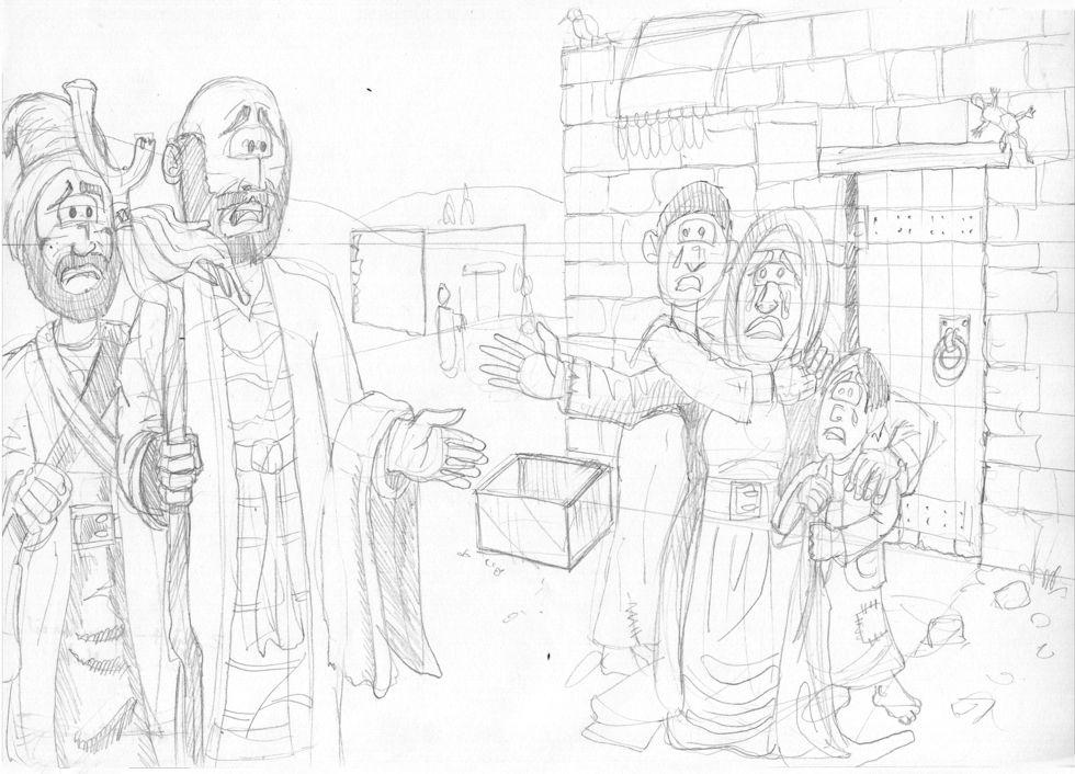 2 Kings 04 - The Widow's Oil - Scene 01 - Consultation 980x706px greyscale.jpg