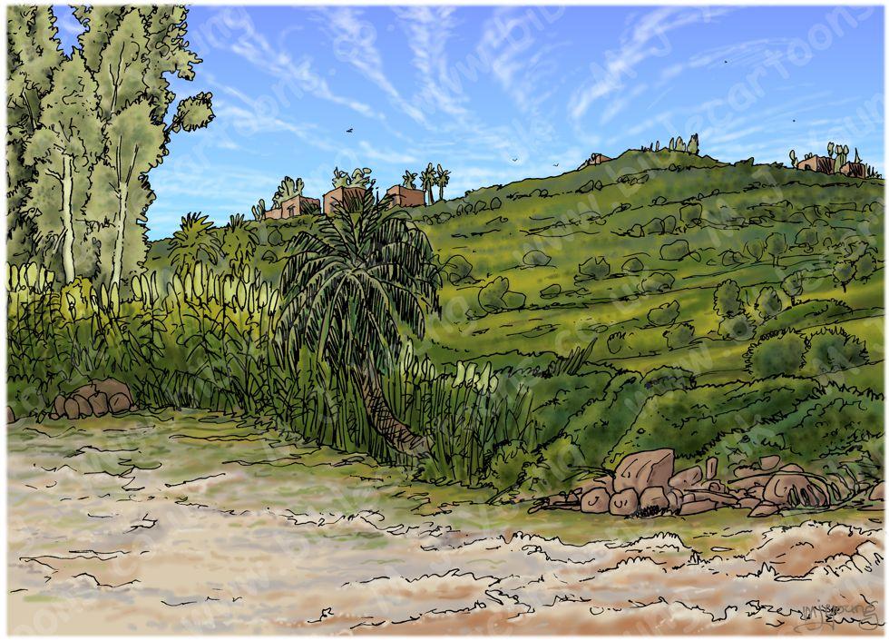 2 Kings 06 - Axe-head floats - Scene 02 - To the Jordan - Landscape 980x706px col.jpg