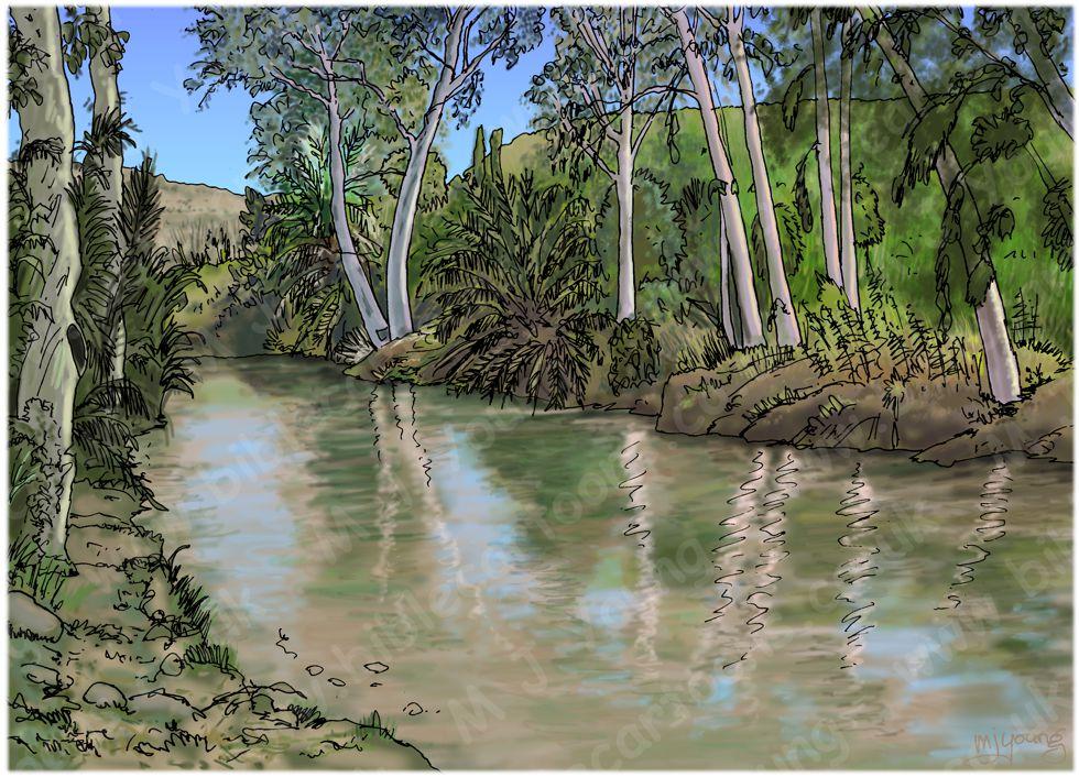 2 Kings 06 - Axe-head floats - Scene 03 - Fallen into river - Landscape 980x706px col.jpg