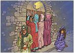 Matthew 25 - Parable of 10 virgins - Scene 03 - Locked door 980x706px col.jpg