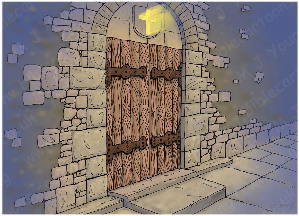 Matthew 25 - Parable of 10 virgins - Scene 03 - Locked door - Townscape 980x706px col.jpg