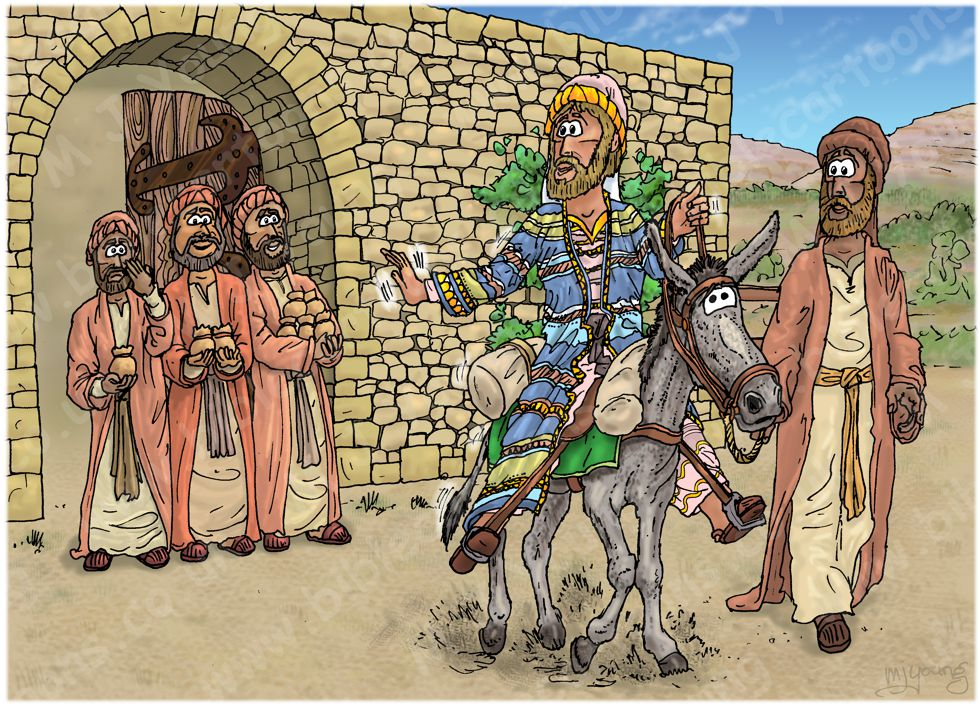 Matthew 25 - Parable of the talents - Scene 01 - Talent distribution 980x706px col.jpg