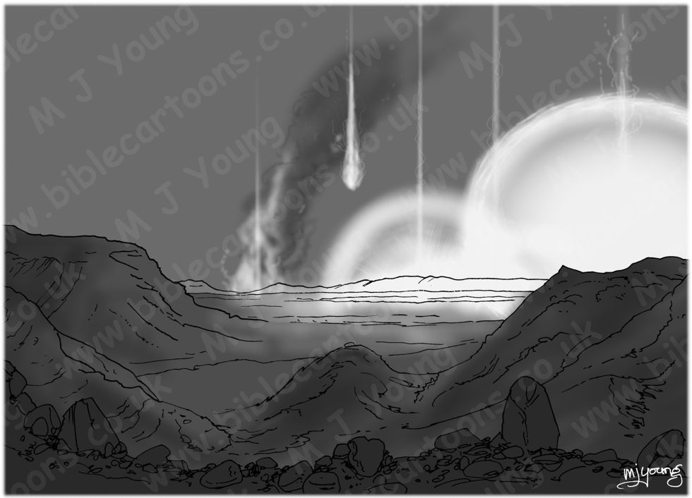 Genesis 19 - Sodom and Gomorrah - Scene 08 - Fire from Heaven - greyscale