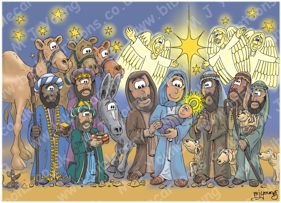 Christmas - Nativity - blue cloak 980x706px col