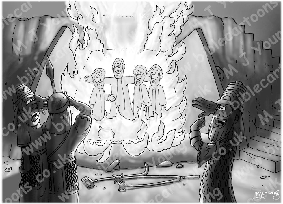 Daniel 03 - Fiery furnace - Scene 04 - The fourth man - GREYSCALE