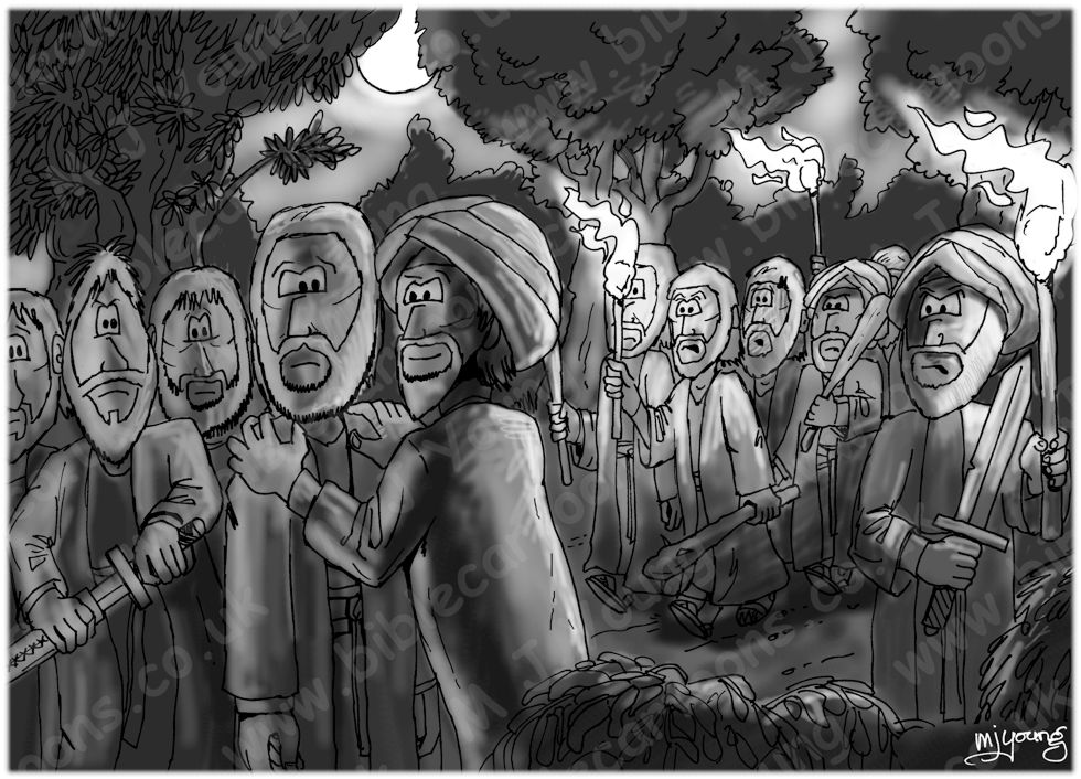 Mark 14 - Jesus Arrested - Scene 01 - Betrayed by Judas Iscariot 980x706px greyscale.jpg